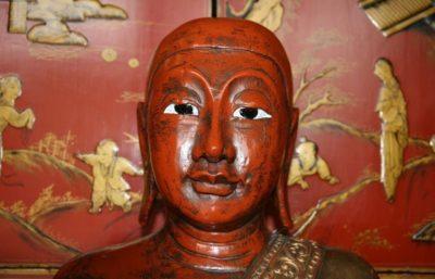 Indische Mönche Paar aus Holz. Onlineshop asian-garden.de