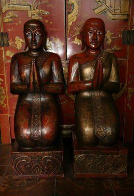 Indische Mönche Paar aus Holz