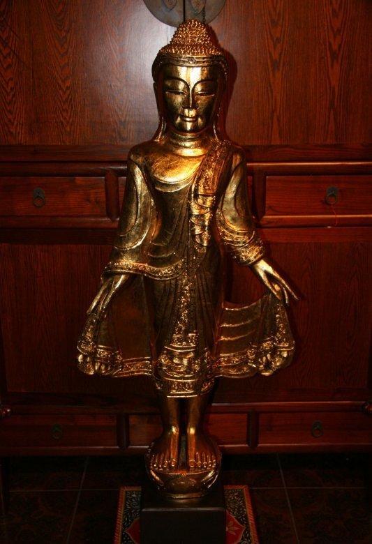 Thai Holz Buddha Blattgold vergoldet