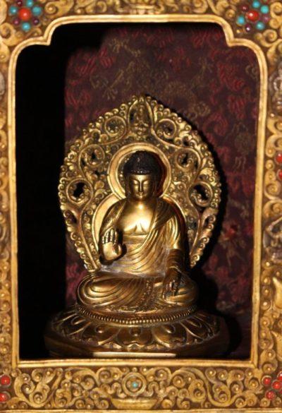 Antiker Altar Schrein Gelugpa-Schule aus Tibet