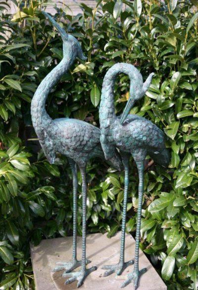 Reiher Vögel Paar Bronze