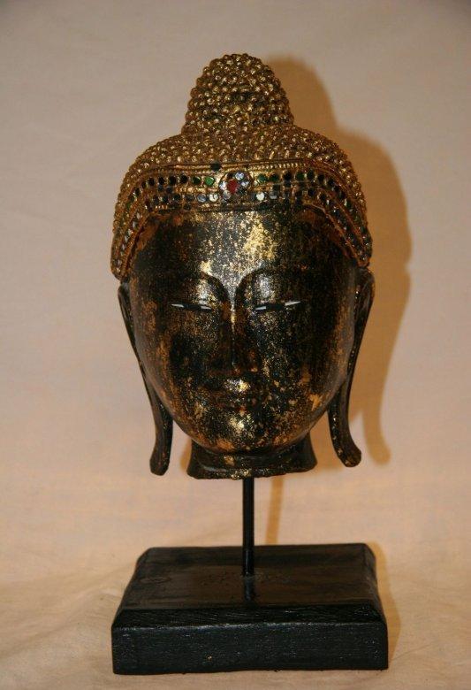 Thai Buddha Kopf aus Holz Thailand