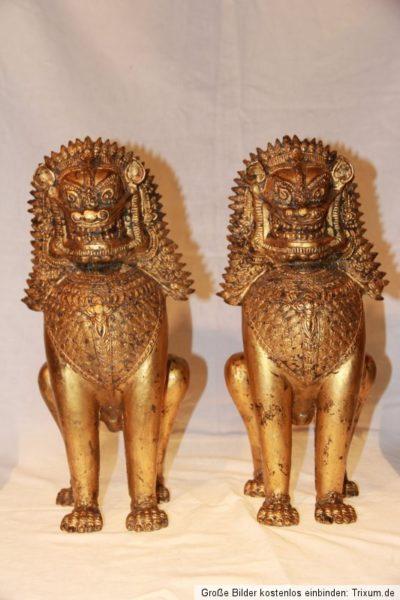 Chinesische Tempel Löwen aus Bronze und Blattgold
