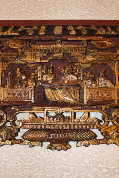 Holzfries aus China, ca. 80 Jahre alt. Maße: 197 x 33 x 4 cm