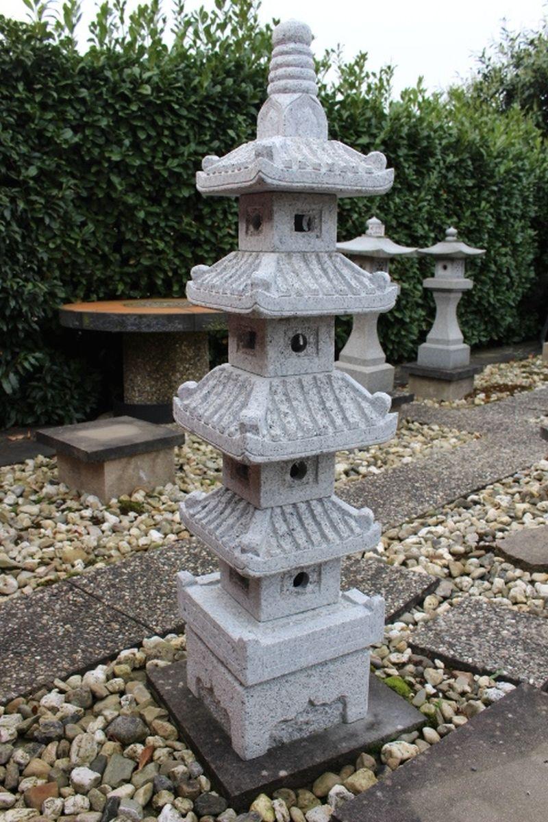 Japanische steinlaterne hellgrauer granit 150cm zu for Japanische gartendekoration