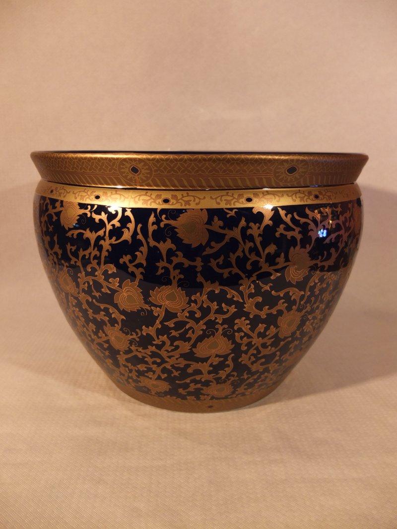 Schwerer Gold-blauer Blumentopf, 36 cm