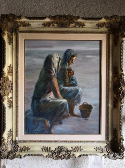 """Gemälde von Jose Marti """"Frauen mit Kind"""" 57 x 75 cm"""