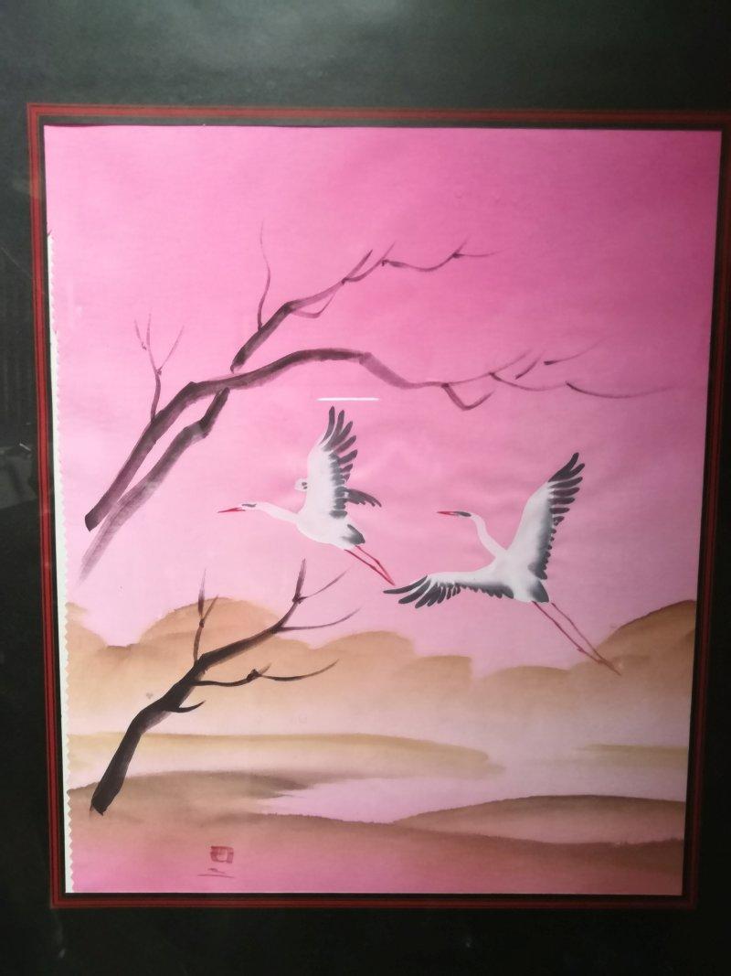 """Asiatischer Bilddruck """"Kranich"""" rosa/pink"""