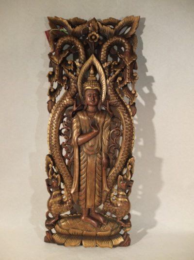Holzrelief Buddha