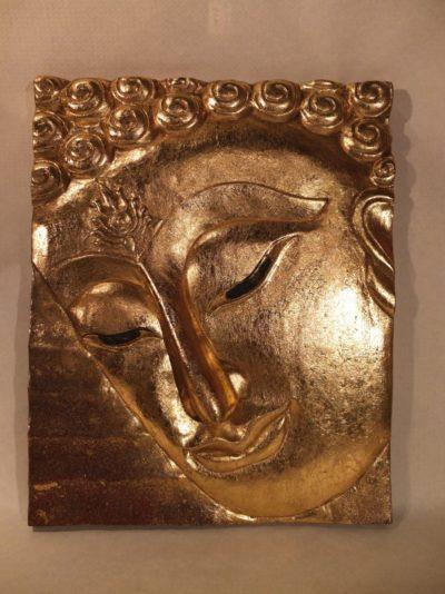 Gesicht Buddhas vergoldet, asiatische Kunst.