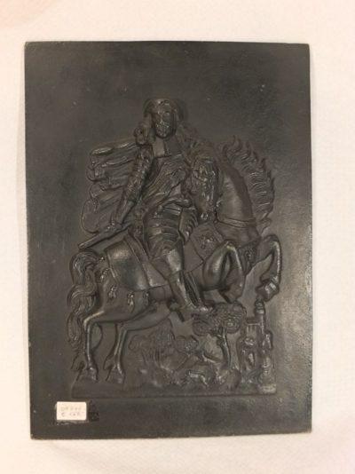 Kaminfigur aus Bronze, europäischer Adeliger auf Pferd