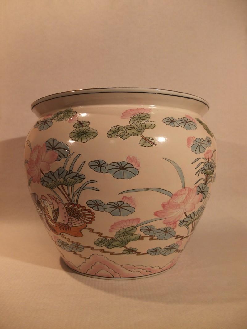 Blumen Übertopf / Fish Bowl 36cm mit Blumen verziert