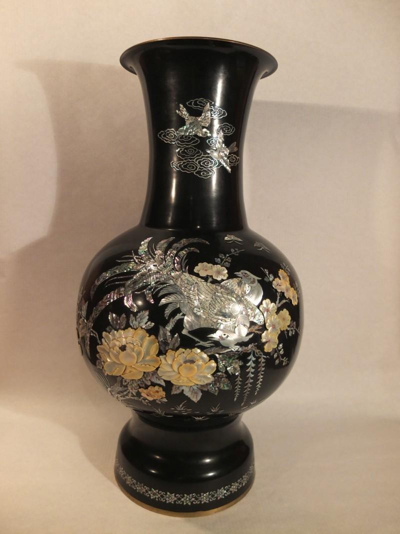 China Vase schwarz, 76 cm