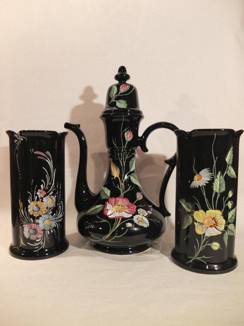 Teekanne & 2 Vasen, Blumenoptik