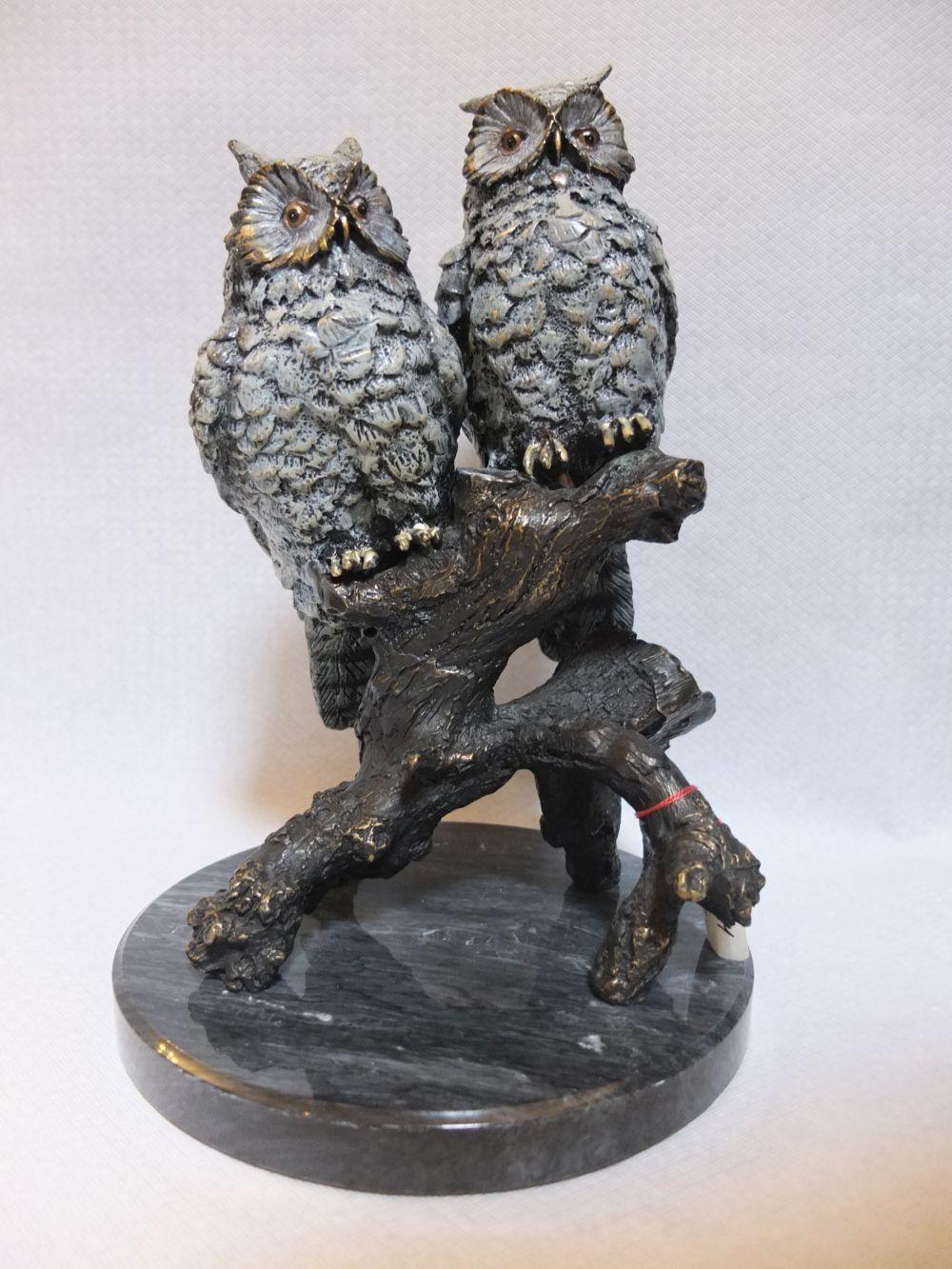 Bronze Eule Eulen Tierfigur
