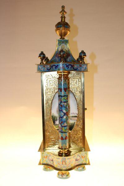 Cloisonné Uhr, 53 x 28 x 16cm