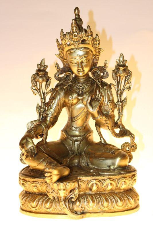 bronze buddha gr ne tara 32cm zu kaufen auf asian. Black Bedroom Furniture Sets. Home Design Ideas