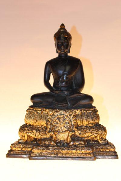 Dunkler Bronze Buddha, 25 x 21 x 12,5cm