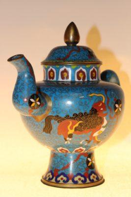 Chinesische Teekanne aus Cloisonné, ca. 75 Jahre alt, 19,5 x 23 x 13 cm