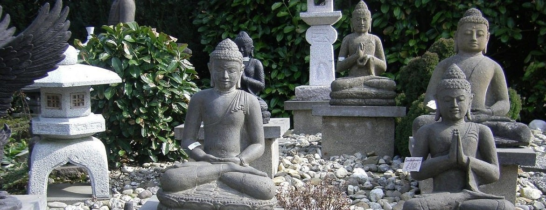 Asian Garden Ausstellung, antike Buddha Statuen kaufen im Shop